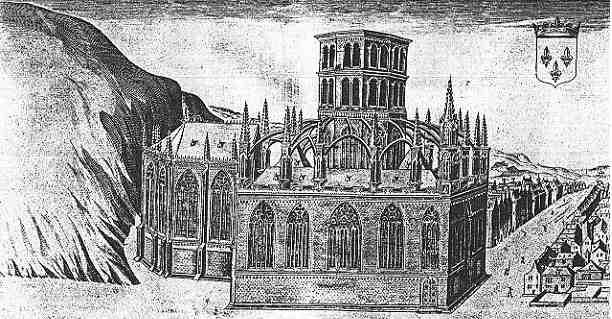 La chapelle Notre Dame de Montfort d apres une gravure de Chastillon datee de 1615