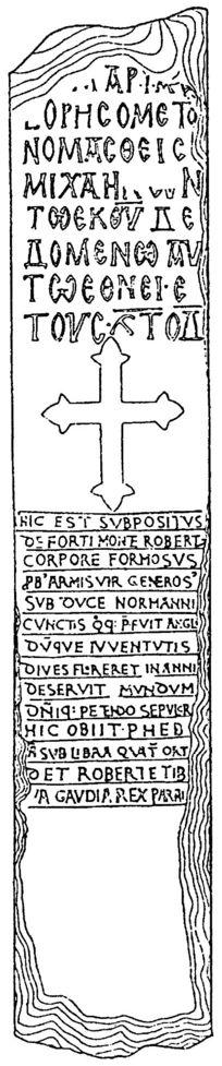 Pierre Tombale de Robert I de Montfort sur Risle